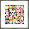 Circles Pattern Retro Background Framed Print