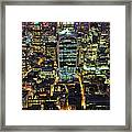 City Of London Skyline At Night Framed Print