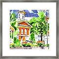 City Square In Watercolor Framed Print