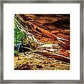 Cliff Rocks And Waterfall Framed Print