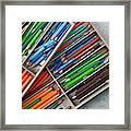 Close-up Of Color Pencils, Ishoj Framed Print