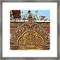 Closeup Of Carving Over Door In Bhaktapur Durbar Square In Bhaktapur-nepal Framed Print