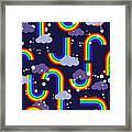 Clouds And Rainbow Cartoon Wallpaper Framed Print