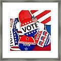 Collection Of Vote Badges Framed Print by Joe Belanger