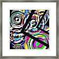 Colored Lines And Circles Art Over Black Framed Print by Mario Perez