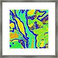 Colorful Abstract Green Yellow Blue Painting No.280 Framed Print