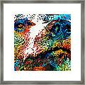 Colorful Bear Art - Bear Stare - By Sharon Cummings Framed Print