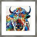 Colorful Buffalo Art - Sacred - By Sharon Cummings Framed Print