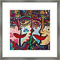 Colorful Faces Gazing - Ink Abstract Faces Framed Print