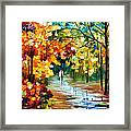 Colorful Forest - Palette Knife Oil Painting On Canvas By Leonid Afremov Framed Print