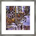 Colorful Giraffes Carrousel Framed Print