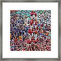 Colorful Human Towers Castellers View Framed Print