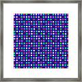 Colorful Polka Dots On Blue Fabric Background Framed Print