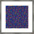 Colorful Polka Dots On Dark Blue Fabric Background Framed Print