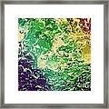 Colorful Splashing Pouring Water With Bubbles Framed Print