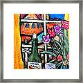 Colosi Wine With Flowers Framed Print by Chaline Ouellet