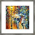 Conversation - Palette Knife Oil Painting On Canvas By Leonid Afremov Framed Print