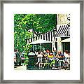 Corner Taverne Terrace French Paris Bistro Painting Sidewalk Cafe Wine Cheese Bar Montreal Cspandau  Framed Print