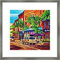 Corona Theatre Presents The Burgundy Lion Rue Notre Dame Montreal Street Scene By Carole Spandau Framed Print