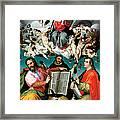 Coronation Of The Virgin With Saints Luke Dominic And John The Evangelist Framed Print