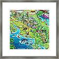Costa Rica Map Illustration Framed Print