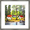 Cottages By The Lake Framed Print
