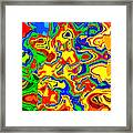 Crazy Day Abstract In Primary Colors  Framed Print