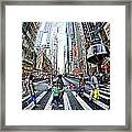 Crossing The City Street Framed Print