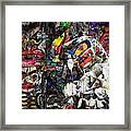Cubist Photographic Composition Of Totem Poles Framed Print