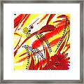 Dancing Lines And Flowers Abstract Framed Print