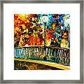 Date On The Bridge - Palette Knife Oil Painting On Canvas By Leonid Afremov Framed Print