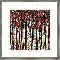 Decorative Abstract Floral Bird Landscape Painting Forest Of Dreams II By Megan Duncanson Framed Print by Megan Duncanson