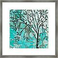 Decorative Abstract Floral Birds Landscape Painting Bird Haven I By Megan Duncanson Framed Print
