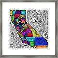 Decorative Map Of California Framed Print