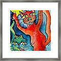 Demon Cats Reach Framed Print