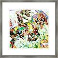 Demon Riding A Horse Rearing Up In Front Of A Two Headed Monk Framed Print