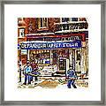 Depanneur Arret Eclair Verdun Rue Wellington Montreal Paintings Original Hockey Art Sale Commissions Framed Print