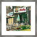 Dilallo Burger Diner Paintings Originalclassic Vintage Burger Joint St Henri St Catherine Cityscene  Framed Print