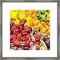 Display Of Fresh Vegetables At The Market Framed Print