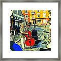 Downtown Street Musicians Perform At The Coffee Shop With Cool Tones On A Hot Summer Day Framed Print