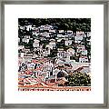 Dubrovnik Rooftops Domes And North East Walls Against The Mountains From The Sea Walls Framed Print