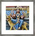 Durga Statue On Hindu Gopuram Framed Print