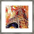 Eiffel Tower In Red Framed Print
