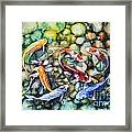 Eight Koi Fish Playing With Bubbles Framed Print