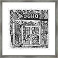 Entrance To Trendy Ocho Restaurant In San Antonio Texas Black And White Digital Art Framed Print