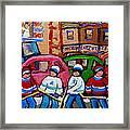 Fairmount Bagel Street Hockey Game Framed Print