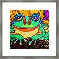 Fat Green Frog On A Sunflower Framed Print