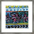 Fiesta In Blues- Abstract Pattern Painting Framed Print