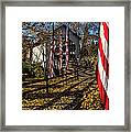 Flags And Covered Bridge Framed Print