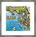 Florida Cartoon Map Framed Print